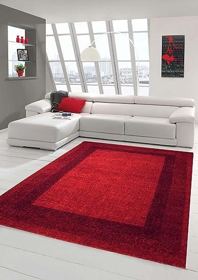 Traum Designer Teppich Moderner Teppich Wohnzimmer Teppich Velours Kurzflor  Teppich mit Winchester Bordüre in Rot Größe 10x10 cm
