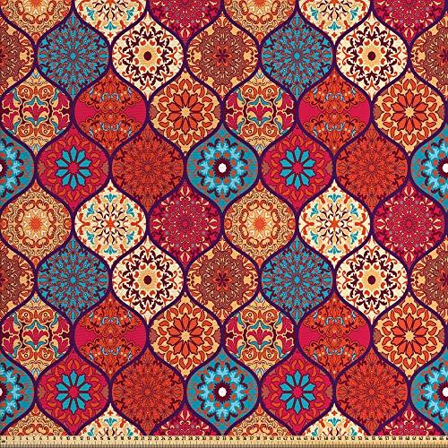 ABAKUHAUS marokkanisch Stoff als Meterware, Orientalisches gewelltes natürliches, Qualitäts Stoff Dekorativer Polster Heimtextilienstoff, 2M (148x200cm), Mehrfarbig
