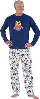 Fun Christmas Pajamas Men - Minion Pajamas, Cotton/Fleece, Blue