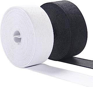 Elastic Bands for Sewing, 1 Inch Wide Elastic Fabric Band Springy Stretch Knitting Elastic Spool 10 Yard (5 Yard White,5 Yard Black)