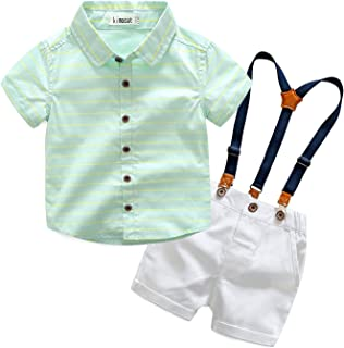 Kimocat Gentleman Suspender Outfits Suit for Toddler Boys 2Pcs Woven Shirt and Shorts with Straps