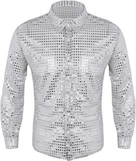 IEFIEL Men's Sparkle Sequins Disco Shirt Long Sleeves Dance Costume Party Clubwear