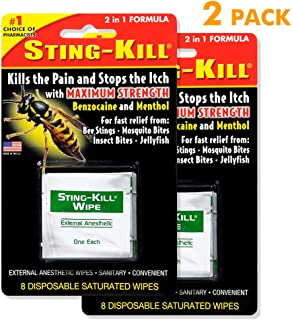 Sting-Kill External Anesthetic Wipes, Package of 5 Wipes (2 Pack)