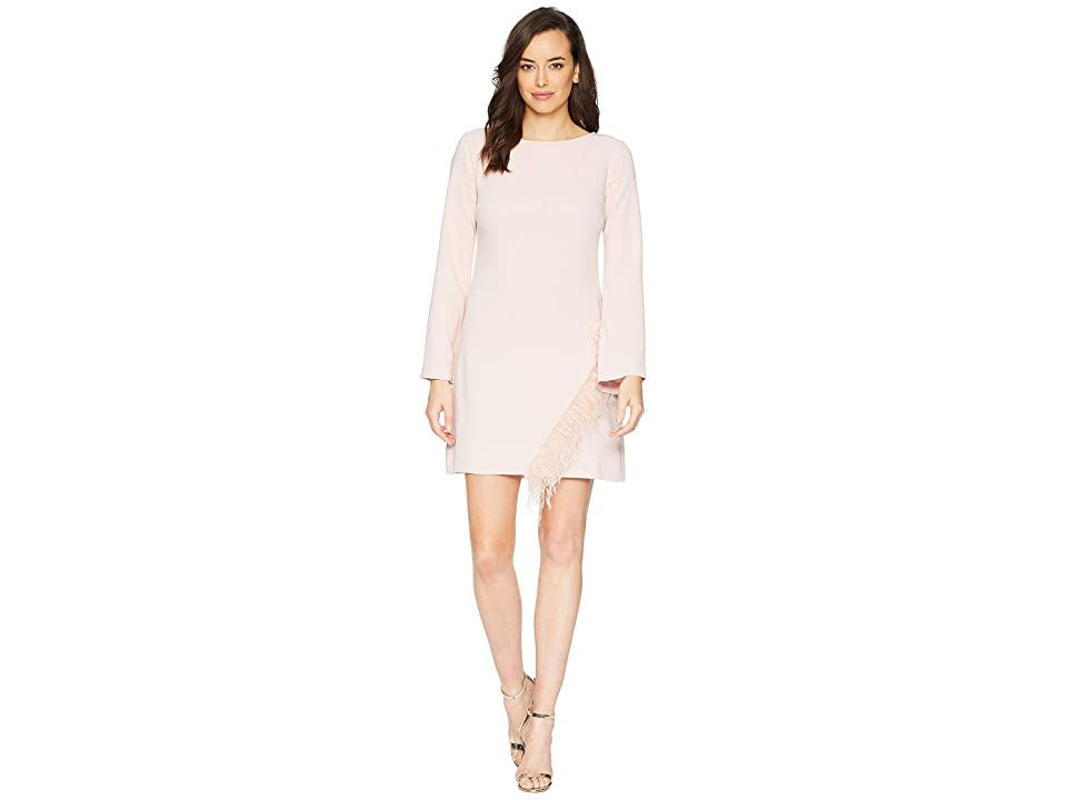 Laundry by Shelli Segal Crepe Shift with Feather Detail (Ballet Pink) Women