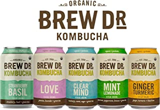 Brew Dr. Raw Organic Kombucha, 5 Flavor Variety Pack, 5 Cans Total - (12 Fl oz each)