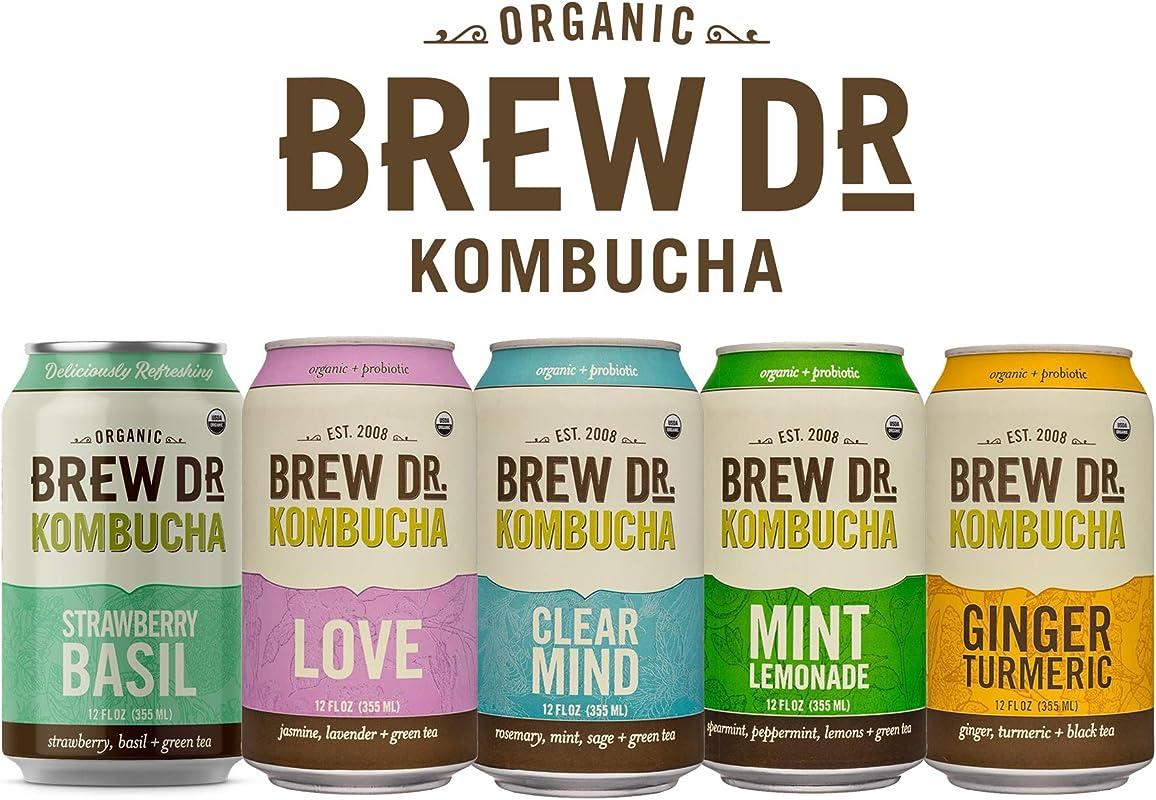 Brew Dr Raw Organic Kombucha 5 Flavor Variety Pack 12 Fl Oz Cans