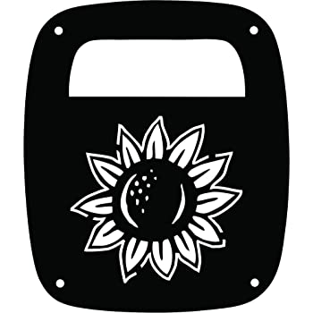 JeepTails Daisy Flower Jeep TJ Wrangler Tail Lamp Covers Black Set of 2