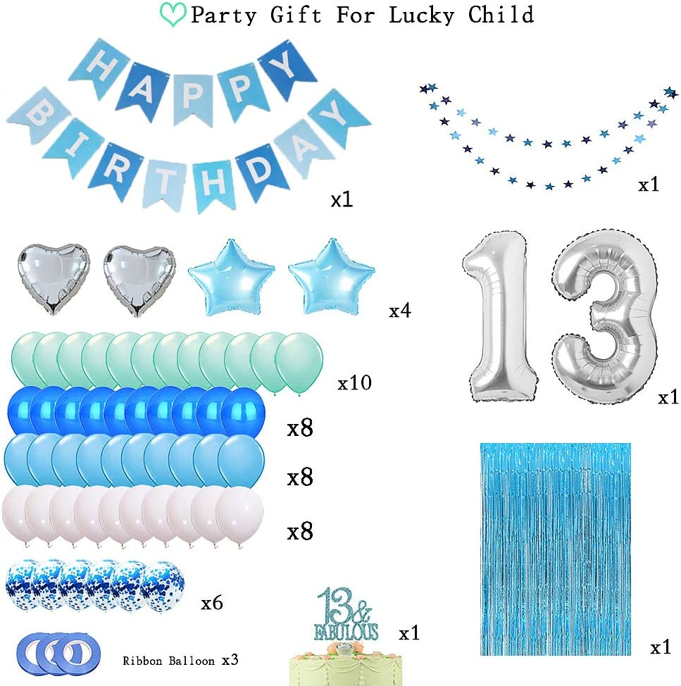 Foil Fringe Curtains Photo Backdrop 13th Birthday Cake Topper 13 Balloons Numbers Happy Birthday Banner Blue 13th Birthday Decorations for Boys Girls Blue Blue 13 Birthday Party Supplies Blue