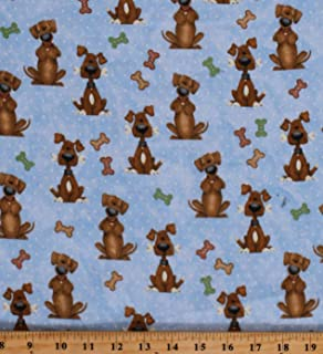 Flannel Dogs Bones Puppies Puppy Dogs Animals Pets on Blue Kids Children's Cotton Flannel Fabric Print by The Yard (D283.21)