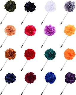 Fanrel 16 Pieces Flower Men's Lapel Pins Handmade Satin Boutonniere Pin for Suit Wedding Groom with a Box