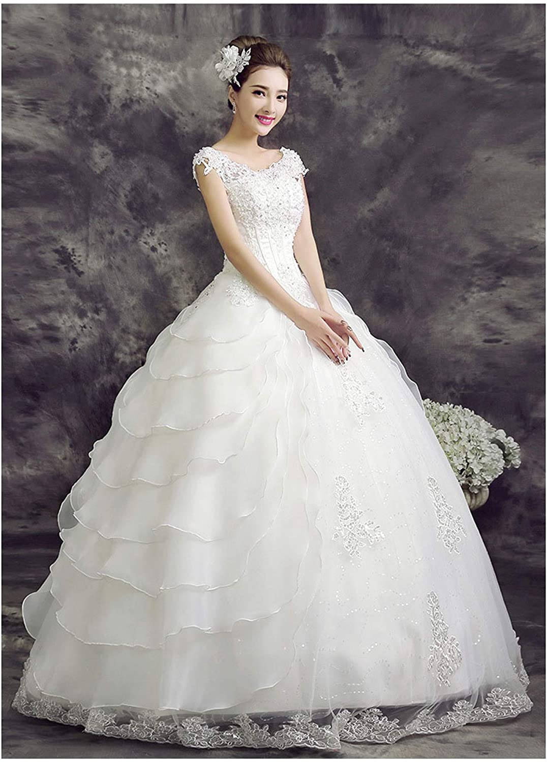 Wedding Dress Bride Double Shoulder Thickened Lace Floor Length Girl Skirt Prom Elegant Sexy