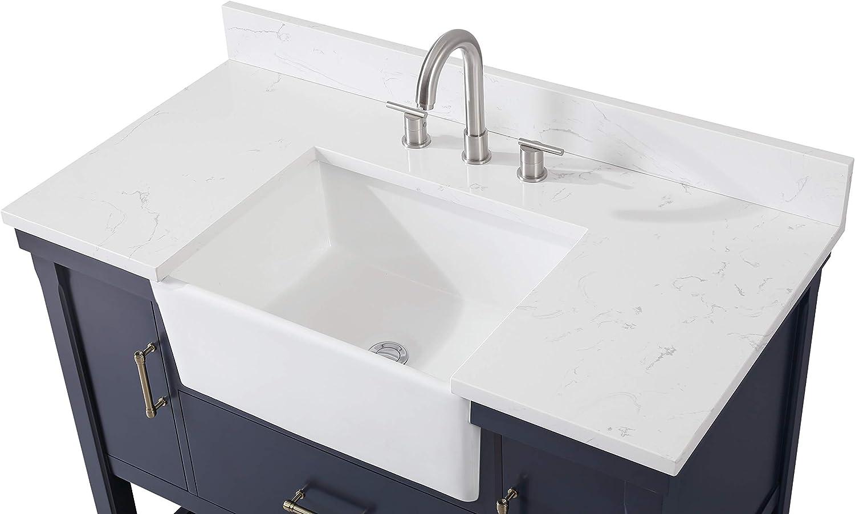 Buy 42 Inches Kendia Navy Blue Farmhouse Sink Bathroom Vanity Qt 7042 Nb42 Online In Vietnam B08vdm266s