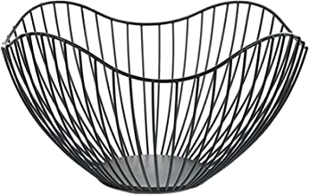 YUFENGJIAO Metal Wire Fruit Container Bowls Stand for Modern Kitchen Countertop, Large Round Black Storage Baskets Fit for...