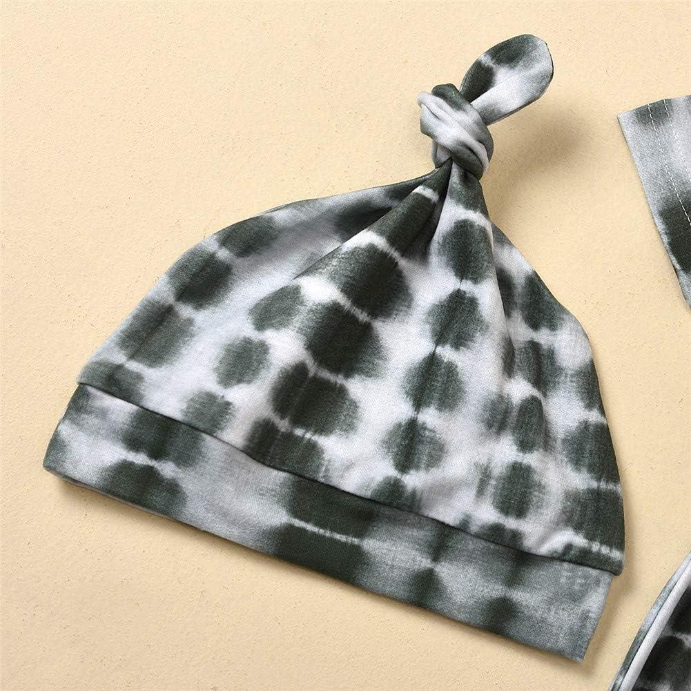 Zoiuytrg Newborn Baby Blanket Sleepers Boy Girl Long Sleeve Tie Dye Wrap Swaddle Knit Sleeping Bag Sack Nightgown Pajama Hat