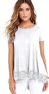 FISOUL Women's Tops Short Sleeve Lace Trim O-Neck A-Line Plus Size Tunic Tops