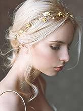 Yean Bride Wedding Hair Vine Headband Gold Leaf Bridal Accessories for Women (Gold)