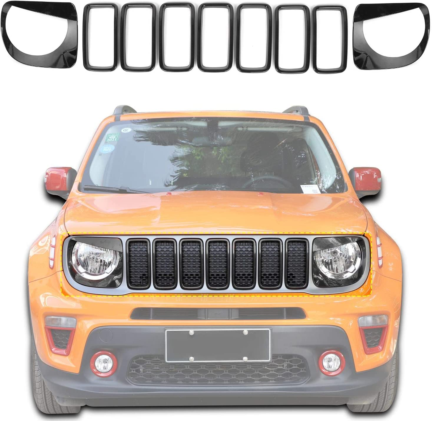 Front Grill Inserts Grille Angry Headlight Style Spring new work one after another Bird Year-end annual account