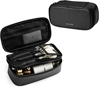 Mini Makeup Bag, Rownyeon Small Travel Cosmetic Brush Bag Organizer Portable Makeup Waterproof PU Leather Case Pouch Toiletry Bag with Brush Holder Double Layer Beauty Case Christmas Gift-Black