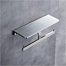 Dubbele toiletrolhouder Badkamer Tissue Rolhouder met Plat, Tissue Roll houder met telefoons doekjes opslag Rack Matte Bla...