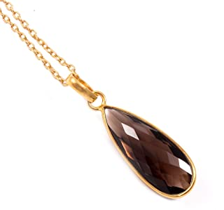 Ratnagarbha Smoky Quartz Gold Necklace, Simple Delicate Necklace, Smokey Quartz Gemstone Necklace, Healing Stone, Meditati...