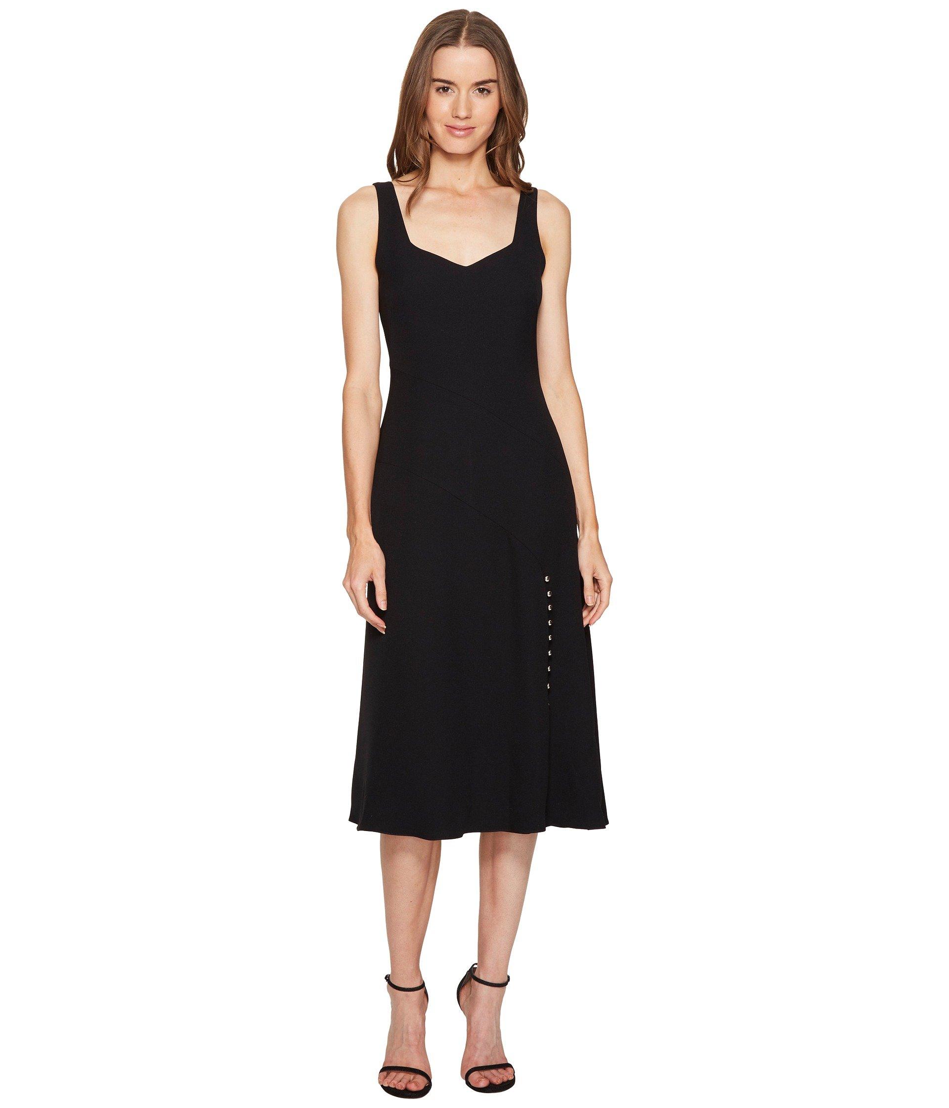 CREPE V-NECK SHEATH FLARE DRESS