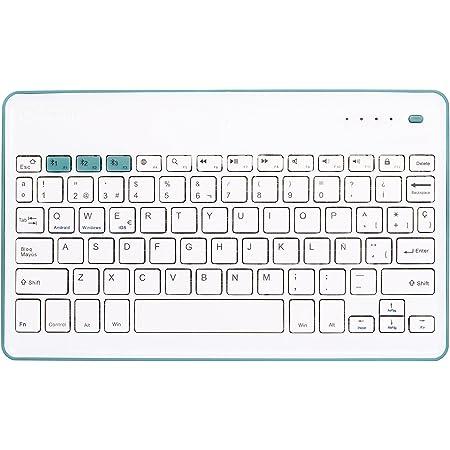 Silver HT 111936640199 - Teclado inalámbrico, color blanco y azul