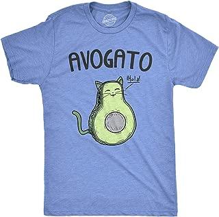 Mens Avogato Funny T Shirts Avocado Cat Tee Cute Cat Face Shirt Novelty T Shirt