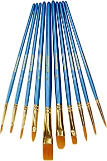 Artlicious - 10 Hand Made All Purpose Nylon Hair Brush Set - Acrylic, Oil, Watercolor Paints