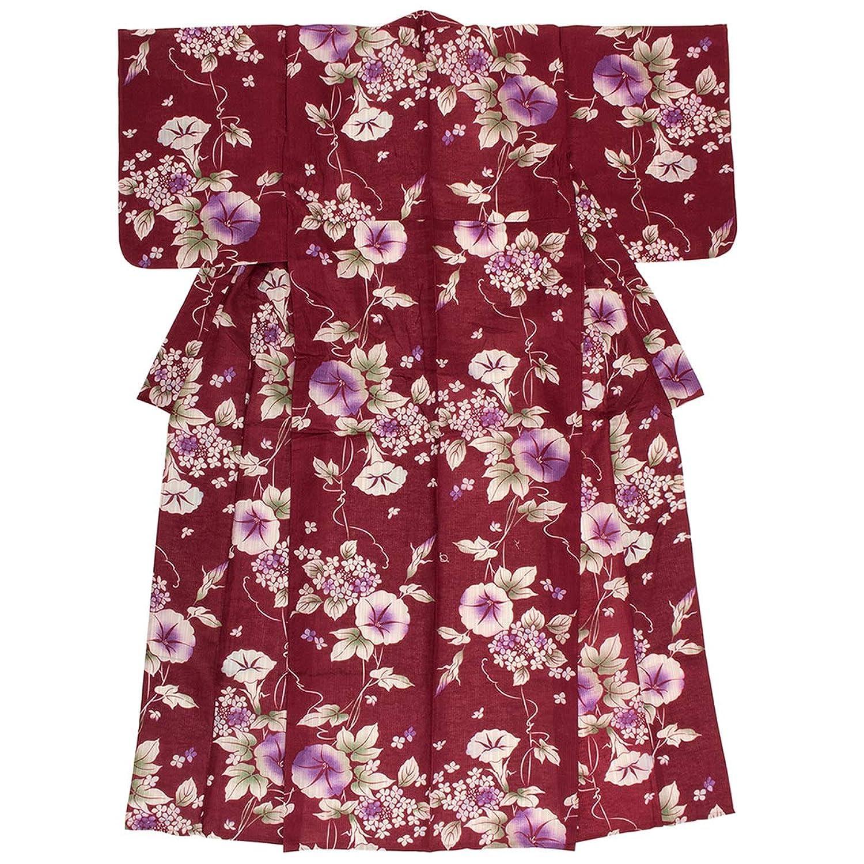 (ソウビエン) 浴衣 レディース 単品 赤 朝顔 紫陽花 花 綿麻 変わり織 ボヌールセゾン フリーサイズ