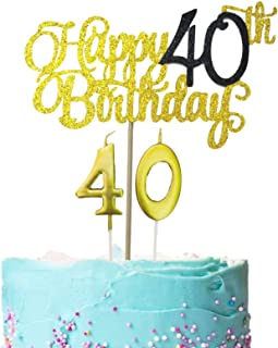 Happy 40th Birthday Cake Topper, Gold Black Glitter 40th Birthday Cake Topper, Cheers to 40 Years, 40 Fabulous with Number...