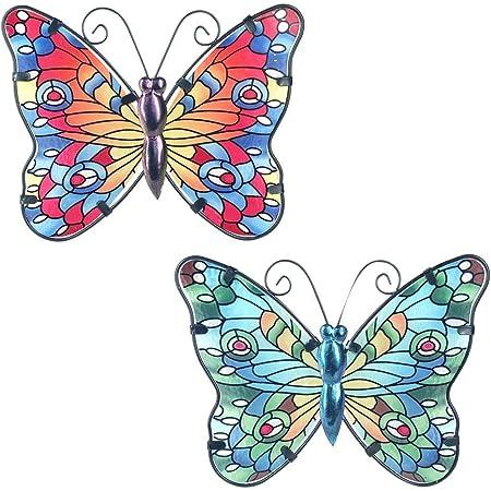 CAPRILO. Set de 2 Apliques Pared Decorativos de Metal Mariposas Azul-Roja. Cuadros y Adornos. Decoración Hogar. Insectos. Regalos Originales. 16,50 x 20,50 x 0,50 cm.