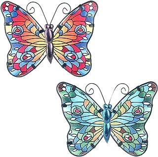 CAPRILO. Set de 2 Apliques Pared Decorativos de Metal Mariposas Azul-Roja. Cuadros y Adornos. Decoración Hogar. Insectos. ...