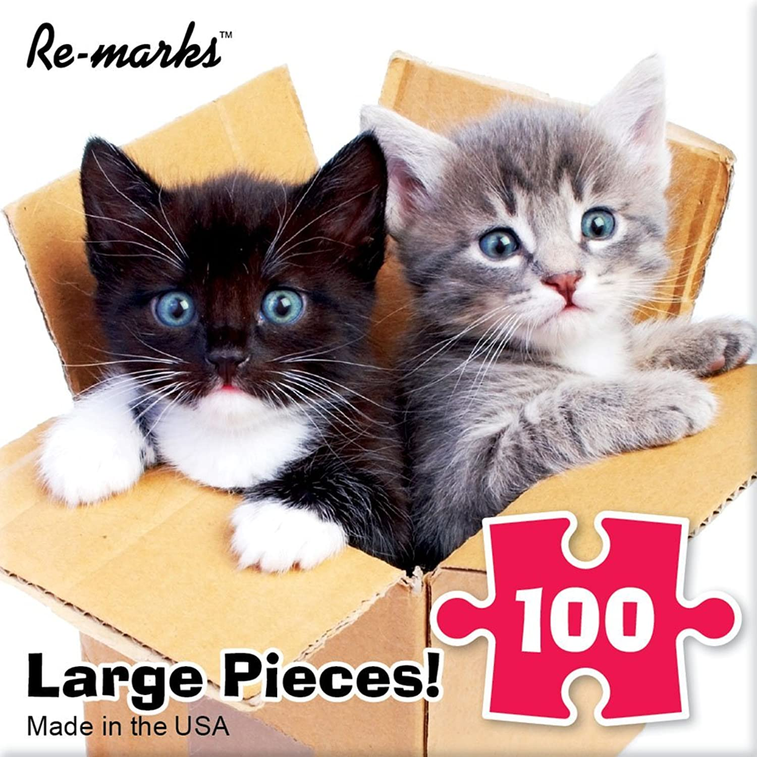 Jigsaw Puzzle 100 Pieces 10 inches x 10 inches Kittens in a Box