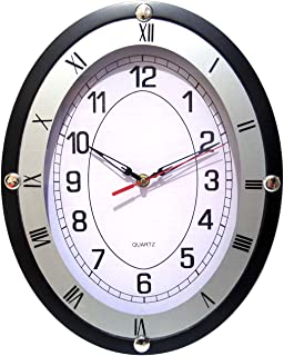 European Oval Wall Clock,14 Inch Silent Non-Ticking Quartz Wall Clocks, Battery Operated Easy to Read Suitable for Office-...
