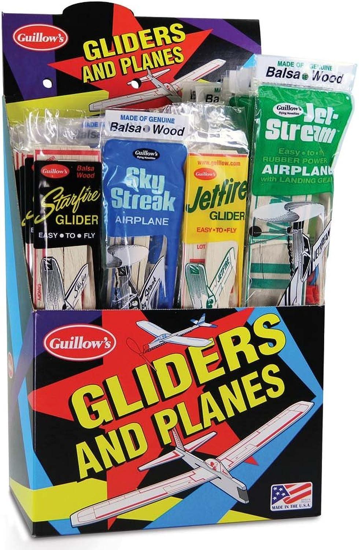 Balsa Planes Combo Pack, 4 Designs, 48 planes, Guillow Models 77
