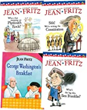 Set of 4 United States History Books by Jean Fritz (Who's Stepping on Plymouth Rock ~ Shh! We're Writing the Constitution ~ George Washington's Breakfast ~ What's the Big Idea, Ben Franklin?)