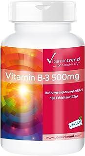 Vitamina B3 500mg – ¡Bote para 6 MESES! – alta dosificación – vegana – 180 comprimidos – niacina para metabolismo– circulación y músculos