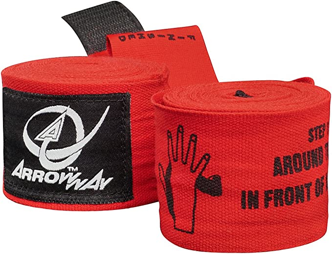 360,7 cm Meister Elastic ArrowWay /Übliche Handbandagen mit aufgedruckter Anleitung f/ür Boxen und MMA