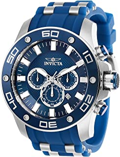 Men's Pro Diver Scuba Stainless Steel Quartz Watch with Silicone Strap, Blue, 26 (Model: 26085)
