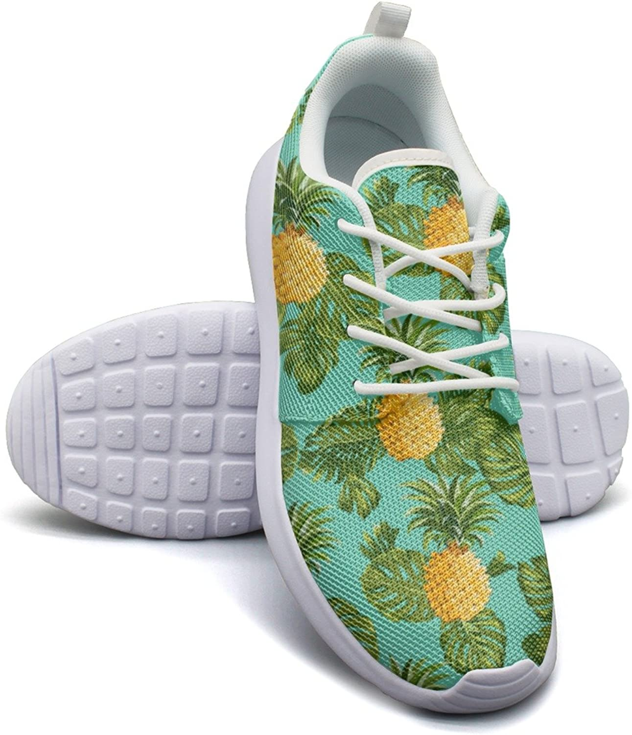 Pineapples And Tropical Leaves Background Women's Fashion Gym shoes Hip Hop Mesh Lightweight Tennis Sneakers