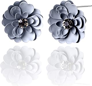 AMYJANE Flower Earrings for Women - Chic Flower Petal Statement Earrings Boho Stud Earrings Women's Metal Matte Flower Petal Stud Pierced Earrings