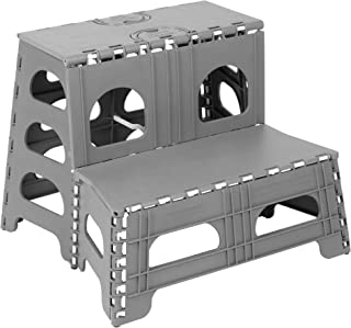 Richards Homewares Folding Two Step Stool - Lightweight and Portable Stepstool for Adults, Kids, Pets - Easy Open/Close with Slim Profile for Simple Storage - Great for Home, Kitchen, Bathroom
