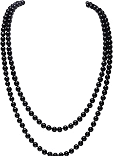 Art Deco Fashion Faux Pearls Necklace 1920s Flapper Beads Cluster Long Pearl Necklace for Gatsby Costume Party 59 Inches