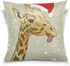 """MASSIKOA Christmas Face of Giraffe Decorative Throw Pillow Case Square Cushion Cover 18"""" x 18"""" for Couch, Bed, Sofa or Pat..."""