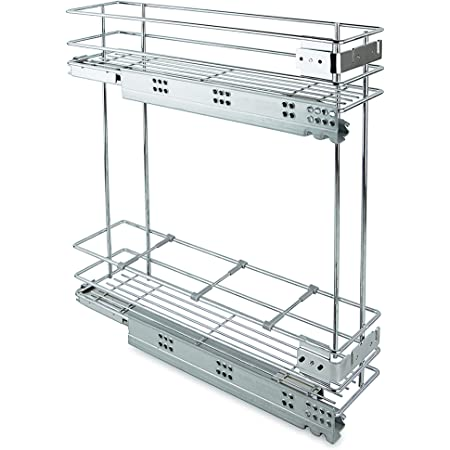 Emuca 8354111 Porte coulissante extractible avec mécanisme de fermeture amortie pour meuble de cuisine 200 mm en acier chromé