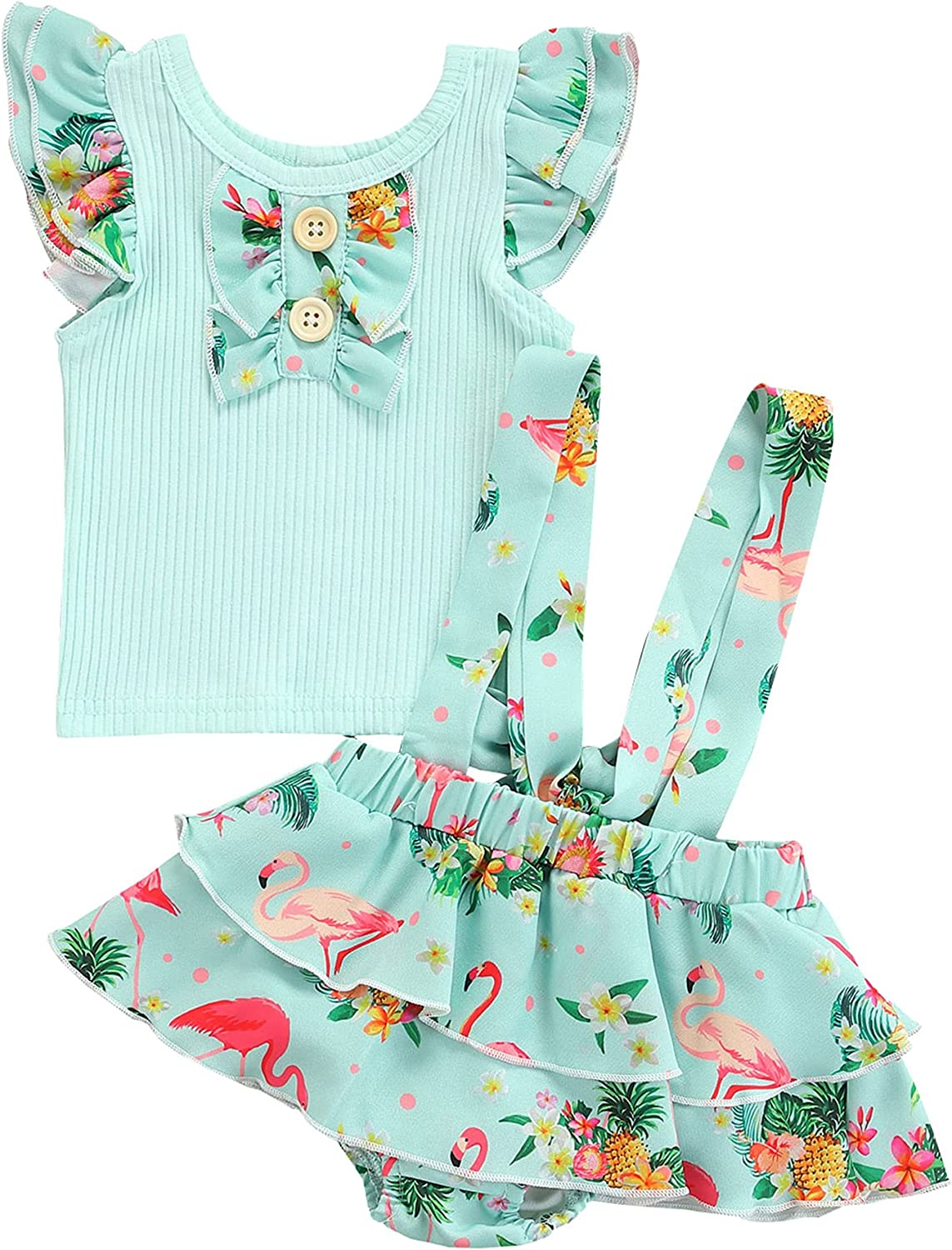 Infant Baby Girl Summer Shorts Set Ruffle Sleeveless T-Shirt and Suspender Shorts Outfit Floral Rainbow Print Set