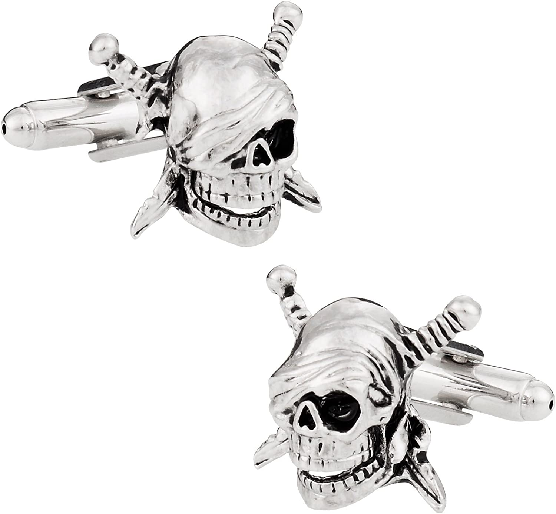Cuff-Daddy Skull & Swords Pirate Cufflinks with Presentation Box