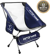 HITORHIKE Camping Chair Breathable Mesh Construction 2 Side Pockets Aluminum Frame Camp..