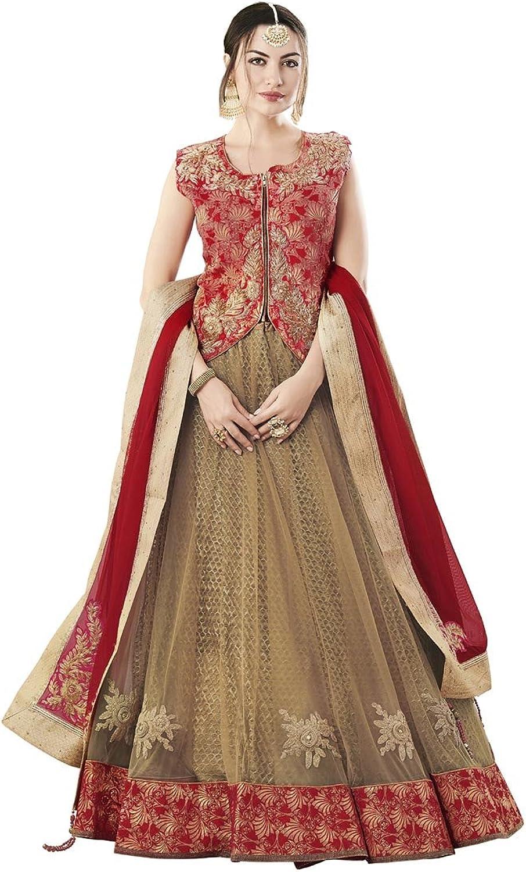 DesiButik's Wedding Wear Elegant Beige Net Lehenga Choli with Dupatta