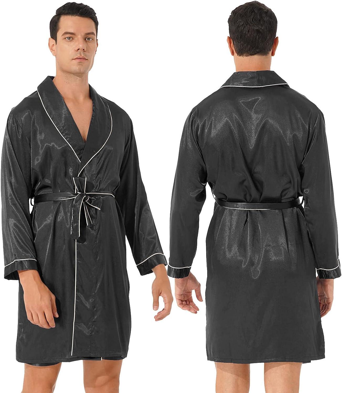 CHICTRY Men's Printed Satin Robe Long Sleeve Kimono Bathrobe with Shorts Lightweight Spa Sleepwear